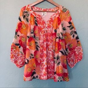 Fig and Flower Women's Floral Peasant Top NWT 1X